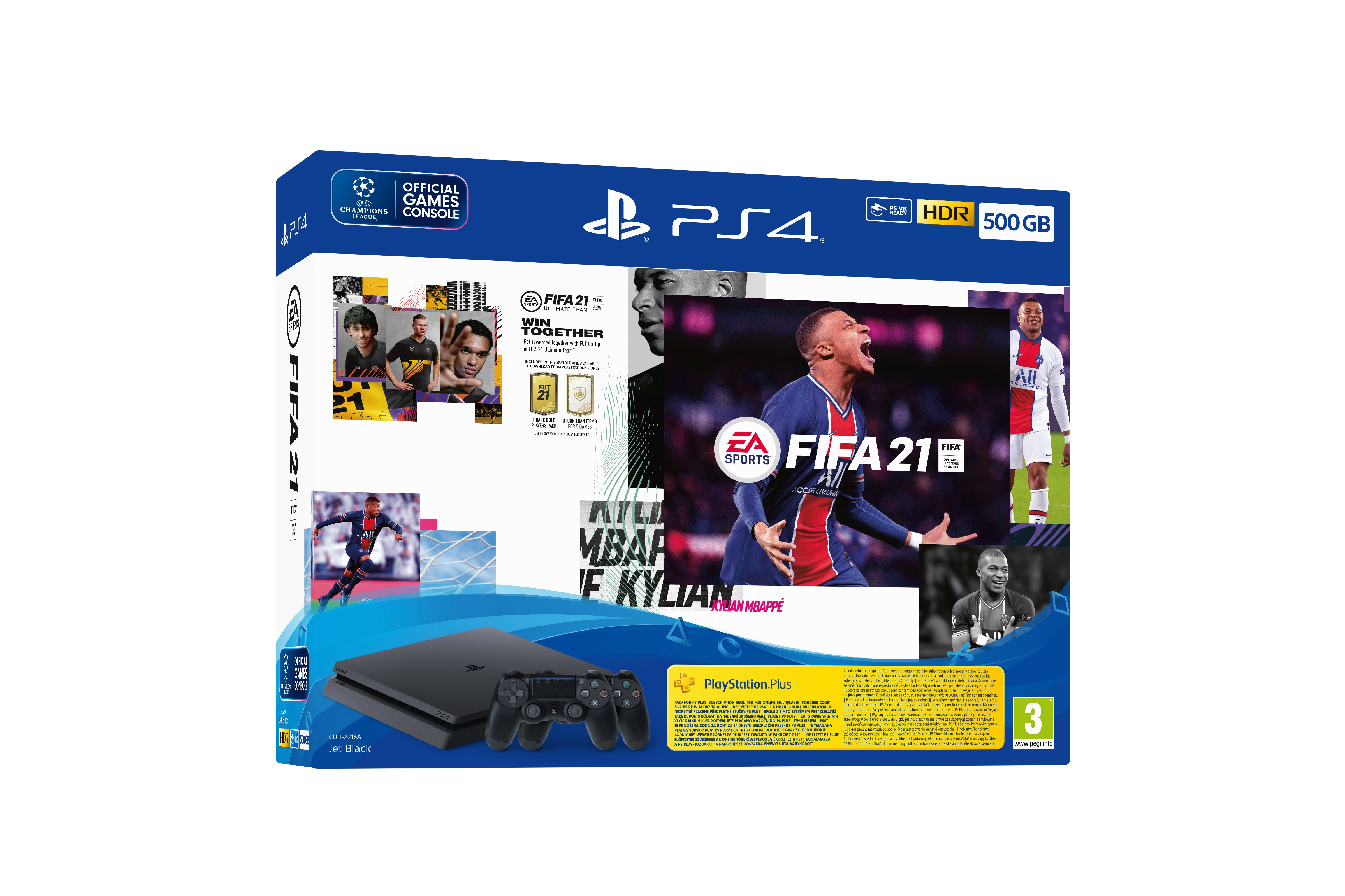 Igralna konzola Sony Playstation PS4 500GB set + FIFA 21/DS4