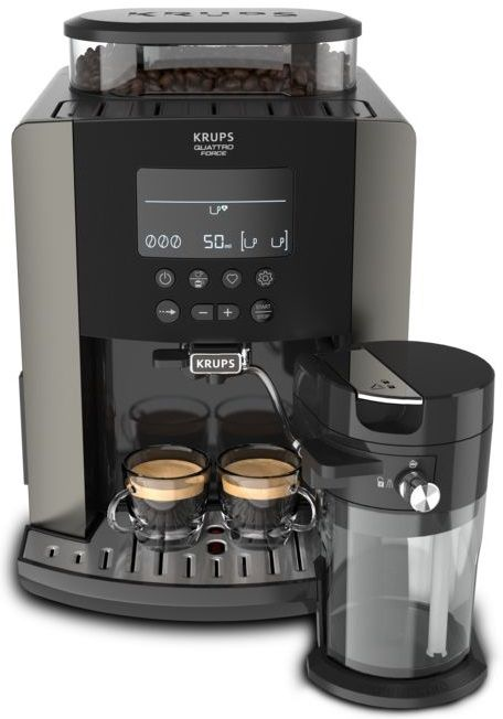 Kavni aparat Krups Arabica Latte pewte EA819E10, črna