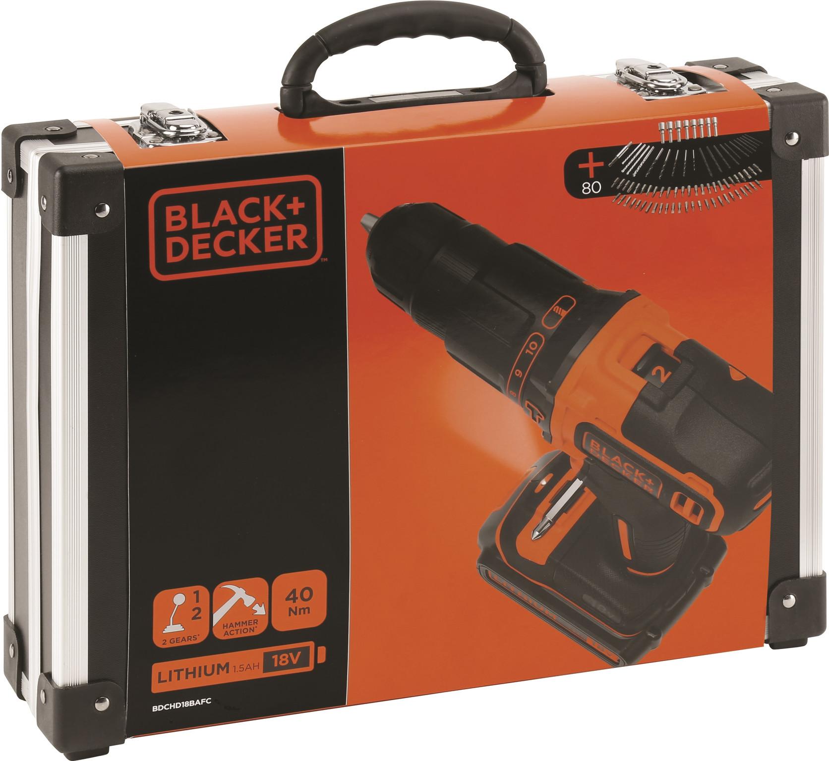 AKU udarni vrtalnik 18 V Black & Decker s priborom